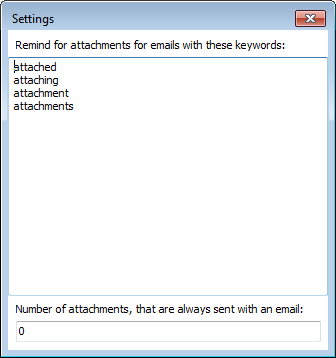 Topalt Attachment Reminder settings window