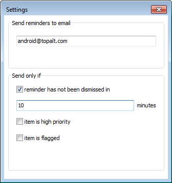 Topalt Send Reminders settings window