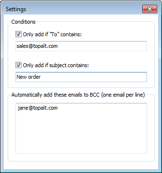 Topalt Auto Bcc for Outlook Screenshot