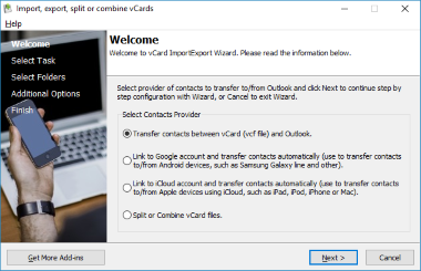 vCard ImportExport - Import vCard to Outlook, Export Outlook Contacts to vCard App Screenshot
