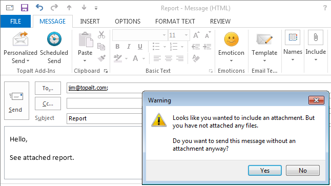 Topalt Attachment Reminder for Outlook