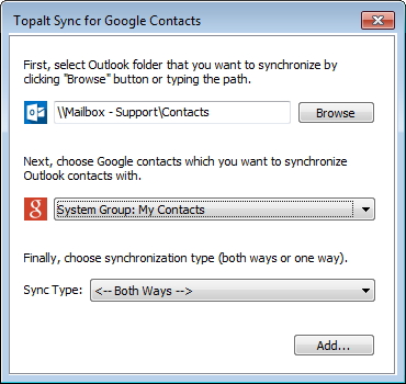 Click to view Topalt Sync for Google Contacts screenshots