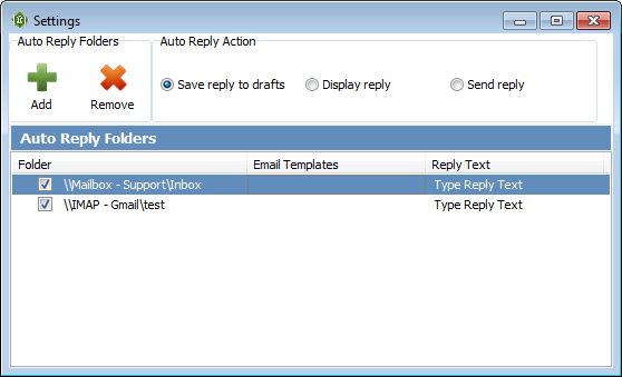 Topalt Auto Reply  settings window